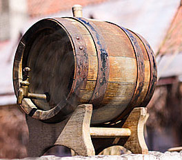 Old beer mead barrel keg bunged